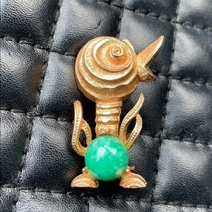 Vintage BSK Gold Faux Jade Jelly Belly Duck Brooch